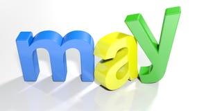 3D schrijft kleurrijk van mei - het 3D teruggeven Stock Fotografie