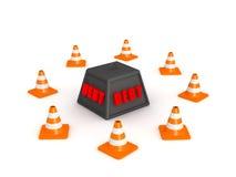 3D Schuldgewicht door Oranje Kegels wordt omringd die Royalty-vrije Stock Foto