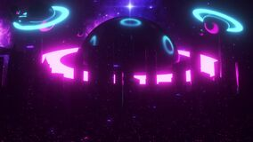 3D Sci-Fi City of the Ring Planets VJ Loop Motion Background