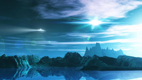 3D science fiction landscape. 3D render of a science fiction landscape with ufo Stock Images