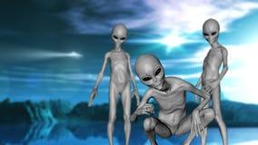 3D science fictionlandschap met grijze vreemdelingen Royalty-vrije Stock Afbeelding