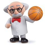 3d scientist character holding a basketball. Render of a 3d scientist character holding a basketball