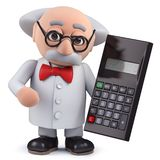 3d Scientist character holding a digital calculator. Render of a 3d Scientist character holding a digital calculator