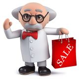 3d scientist character holding a Sale bag. Render of a 3d scientist character holding a Sale bag