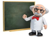 3d Scientist character teaching at a chalkboard. Render of a 3d Scientist character teaching at a chalkboard royalty free illustration