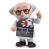 3d scientist character using a film slate to direct a movie. Render of a 3d scientist character using a film slate to direct a movie