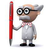 3d Scientist holds a pen Stock Photo