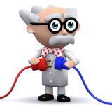 3d Scientist holds two plugs Royalty Free Stock Photos