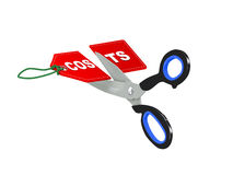 3d scissor cutting costs tag Royalty Free Stock Image