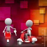 3d scooter carrying message illustration Royalty Free Stock Photography