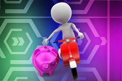3d scooter man dropping coin on piggy illustration Royalty Free Stock Images