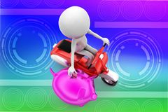 3d scooter man dropping coin on piggy illustration Stock Images