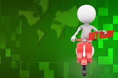 3d scooter man get ready illustration Stock Photo