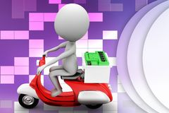 3d scooter and man with web boosting illustration Royalty Free Stock Photography