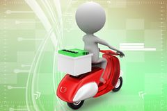 3d scooter and man with web boosting illustration Stock Photo