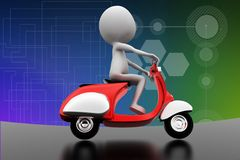 3d scooter riding illustration Stock Images