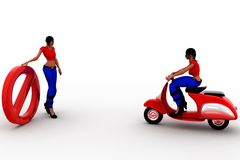 3d scooter riding to two points illustration Stock Photography