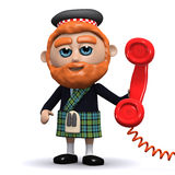 3d Scotsman answers the phone Stock Photo