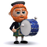 3d Scotsman bangs the drum Royalty Free Stock Photos