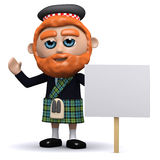 3d Scotsman with placard Stock Image