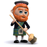 3d Scotsman sweeping with a broom Stock Photo
