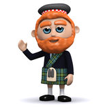 3d Scotsman waves a friendly greeting Stock Image