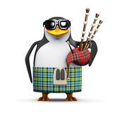 3d Scottish penguin with bagpipes vector illustration