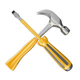 3D Screwdriver and hammer Royalty Free Stock Photography