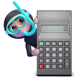 3d Scuba diver behind calculator Stock Image