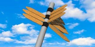 3d - señales de dirección y cielo azul nublado imágenes de archivo libres de regalías