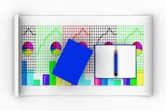 3d se abren y los libros cerrados con el gráfico y el lápiz Imágenes de archivo libres de regalías
