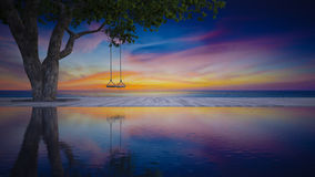 3d sea view rope swing under the tree Royalty Free Stock Photo