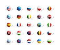 3D señala iconos por medio de una bandera Foto de archivo libre de regalías