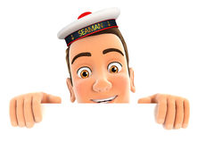 3d seaman hiding behind white wall Royalty Free Stock Image