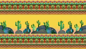 3d rendering of  cartoon stylized mexican theme, seamless pattern. 3d Seamless geometric pattern with cactuses.  Colorful mexican theme ornament Royalty Free Stock Photography