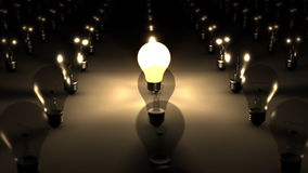 3D SEAMLESS LOOP Single Illuminated Lightbulb stock footage