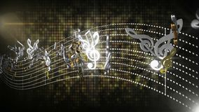 3d seamless music notes flowing with abstract line tune on black isolated background stock footage