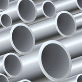 3D seamless steel pipes pattern Royalty Free Stock Photos