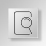 3D search file icon Business Concept. 3D Symbol Gray Square search file icon Business Concept Royalty Free Stock Photos