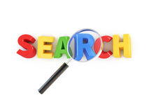 3d Search icon. 3d Search word with magnifying glass, isolated on white royalty free illustration