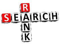 3D Search Rank Crossword cube words Stock Image