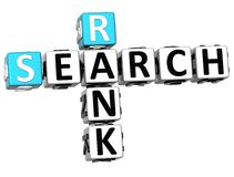 3D Search Rank Crossword cube words Royalty Free Stock Images