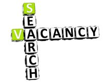 3D Search Vacancy Crossword Stock Photo