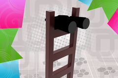 3d  searching with binocular illustration Royalty Free Stock Images