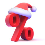 3d Seasonal percent symbol with Santa Claus hat Stock Photography