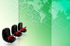 3d seat hard expert creative illustration Stock Photos