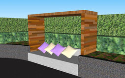 3D seat wall with wooden roof. Prop in the outdoor garden Stock Image