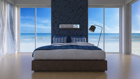 3D seaview bedroom Royalty Free Stock Photo