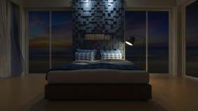 3D seaview bedroom Stock Photos