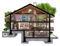 3d section of a country house. If we cut a house in half we will see how zoned rooms on the floors. Garage and heating are in the basement. Kitchen, living room Stock Photography